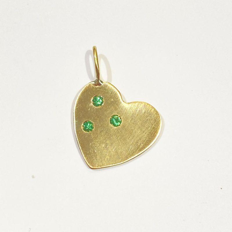 Golden Emerald Heart Pendant - Monica G