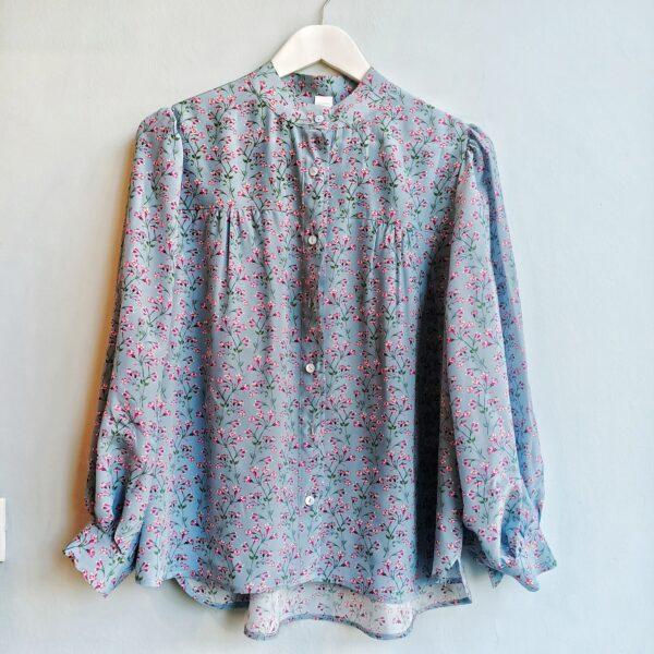 Dusty Blue Silk Blouse - Monica G. Capsule Collection