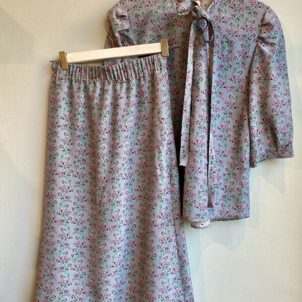 Dusty Blue Silk Skirt - Monica G. Capsule Collection